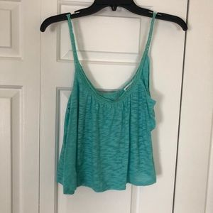 turquoise open back crop top